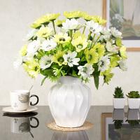 新品欧式假花仿真花装饰玫瑰花套装摆件客厅餐桌绢花陶瓷花瓶 乳白色 3绿大樱花+白水纹