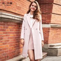 拉夏贝尔千鸟格毛呢大衣女中长款秋冬季新款韩版学生赫本羊毛呢子外套