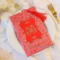 结婚请柬喜帖请帖贴结婚礼邀请函中国风欧式韩版创意个性婚庆用品礼品100装 100装