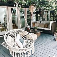 门扉 吊椅 家居北欧风棉绳抖音流苏秋千吊椅吊篮吊床 客厅阳台儿童房装饰