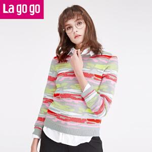 【每满200减100】拉谷谷lagogo2016冬季新款女装毛衣套头圆领长袖针织衫time:4.17~4.23