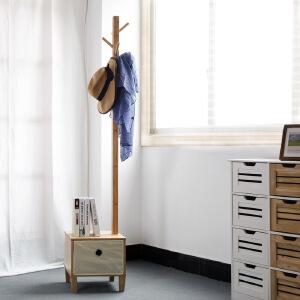 门扉 衣帽架 欧式衣服架子卧室挂衣架落地实木创意衣帽架换鞋凳