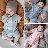 一岁宝宝夏装爬服6-12个月男童连体衣新生儿夏季衣服婴儿外出抱衣