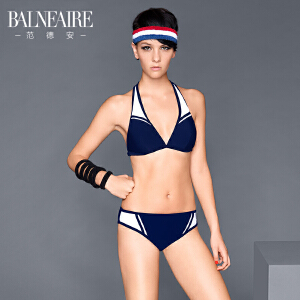范德安性感挂脖比基尼泳衣女 大胸小胸聚拢性感分体泳衣bikini
