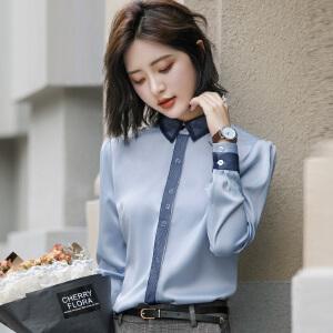 安妮纯职业长袖衬衫女夏2020新款时尚气质雪纺白衬衣女chic早秋上衣