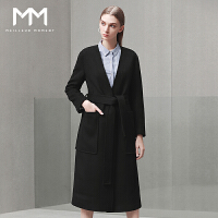 商场同款MM麦檬冬装新款V领系带羊毛大衣女装中长款毛呢外套