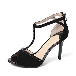Belle/百丽夏季专柜同款羊绒皮革时尚优雅女凉鞋Q2G2DBL6