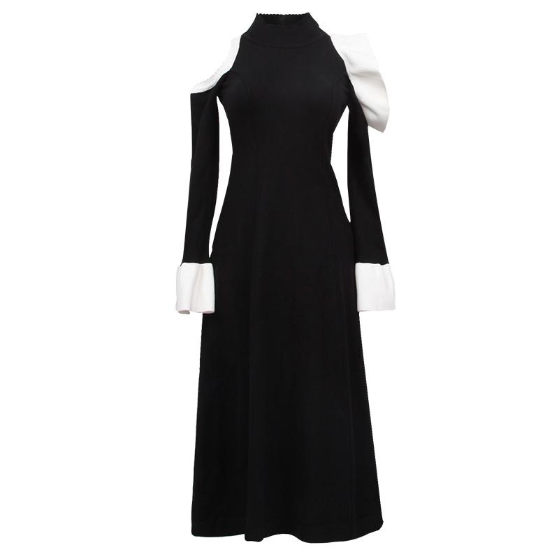 加长毛衣裙长款2018新款春季过膝女士韩版黑色套头加厚针织连衣裙 黑色