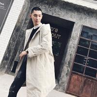男装 秋冬 时尚薄款纯色风衣 中长款连帽时尚休闲风衣 外套