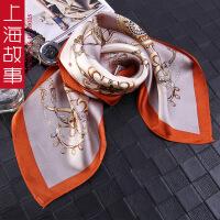 上海故事韩国装饰文艺小方巾女百搭桑蚕丝多功能发带复古真丝方巾