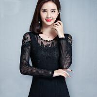 春装新款网纱打底衫女长袖性感纱网低领蕾丝镂空修身小衫上衣 黑色 C3299黑色
