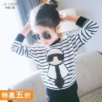 女童打底衫2018韩版秋装宝宝t恤中大童时尚横条卫衣儿童套头上衣
