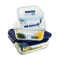 Glasslock 三光云彩韩国进口钢化玻璃保鲜盒密封便当盒玻璃饭菜盒收纳盒3件套GL57