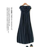 夏款薄款女装时尚 百搭韩版抹胸款 透气雪纺长裙连衣裙J7\11