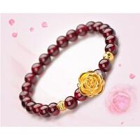 【多款哦】经典女式首饰品 貔貅苹果玫瑰花转运珠 石榴石手链 红色 玫瑰花手链单圈