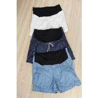 B204夏季韩版新品宽松纯色系带高腰牛仔直筒短裤孕妇托腹裤女