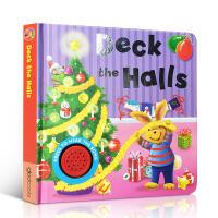 英文原版 儿童早教益智绘本 好玩的低幼发声!经典童谣唱歌 纸板发声 圣诞音乐deck the halls 撕不烂纸板书