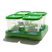 美国进口小绿芽辅食盒婴儿玻璃冷冻保鲜儿童存储盒零食格宝宝餐具