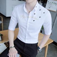 男士衬衫春夏2018潮流 帅气修身型韩版发型师7分袖寸衣服韩版衬衣