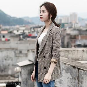 【爆款力荐】格子西装外套女韩版2020春装新款休闲显瘦气质女士长袖短款西服