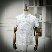 翻领POLO衫夏装薄款白色商务休闲格子POLO领短袖体恤衫男T恤剪标