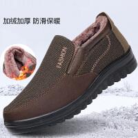 老北京布鞋男棉鞋冬季中老年人老人防滑爸爸加厚加绒保暖中年男鞋