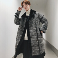 潮流ulzzang冬季中长款加绒加厚风衣韩版修身麂皮绒羊羔绒大衣男