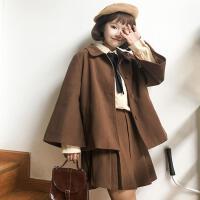 韩版时尚休闲套装秋冬女装翻领短款毛呢外套+半身裙短裙两件套女