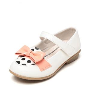 鞋柜shoebox/苹绮简约蝴蝶结女童鞋单鞋新品魔术贴女孩小皮鞋