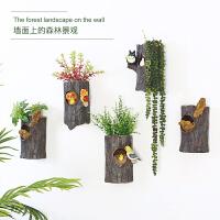 可爱动物树桩墙上装饰品餐厅墙面壁挂饰客厅墙壁立体挂件