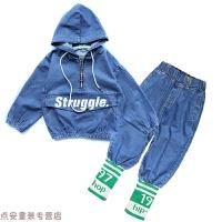 冬季女童牛仔套装2018秋装新款长袖卫衣中大童儿童时髦洋气两件套潮秋冬新款 蓝色