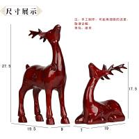 红木手工艺品摆件 家居动物摆设 实木雕刻对鹿情侣婚庆礼品