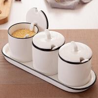 创意家用调味罐套装调味料罐陶瓷调味品罐调料瓶收纳盒盐罐子