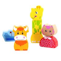 大号积木制1-3-6周岁宝宝早教手眼协调串珠动物穿珠子玩具