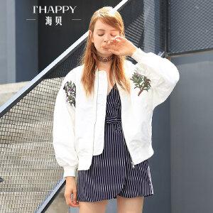 海贝2017早秋装新款女装短款外套 百搭休闲时尚立领长袖刺绣夹克