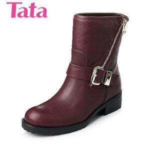 Tata/他她 年时尚休闲牛皮革女靴2LV60DZ5