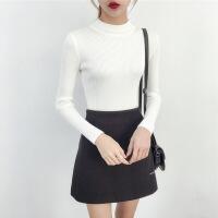 半高领毛衣女士秋冬装新款2018黑白色长袖上衣修身紧身针织打底衫