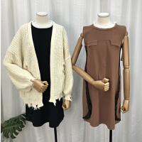 C0L@23 2018秋冬新韩版圆领无袖女式套头针织连衣裙YQ