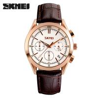 男士皮带石英表六针手表时尚潮流个性男表计时腕表