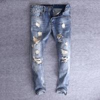 男士牛仔裤破洞乞丐潮流做旧中腰直筒牛仔长裤