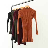 秋款女装韩版 中长高领套头 修身打底衫纯色女甜美针织衫毛线衣Y1