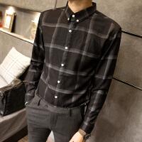 新款格子衬衣男长袖衬衫青年学生上衣秋季烫四季薄款常规2018年