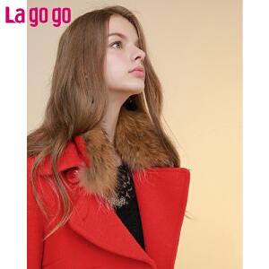 Lagogo春新款毛呢大衣女中长款呢子外套韩版大毛领红色双排扣春装