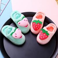 儿童棉拖鞋冬休闲鞋小童水果拖鞋家居保暖加厚底防滑中童带跟毛毛托鞋