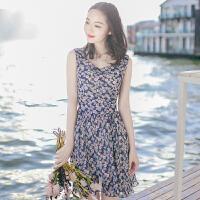 夏季新品女装修身短裙子无袖雪纺连衣裙波西米亚沙滩裙海边度假裙 图片色 XZA284