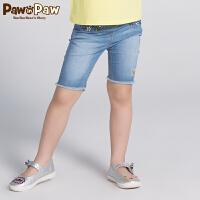 【3件3折 到手价:119】Pawinpaw卡通小熊童装秋女童水洗牛仔裤子中大童五分裤