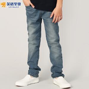 2018童装男童松紧腰休闲大码牛仔裤中大童浅蓝长裤秋装新款休闲裤