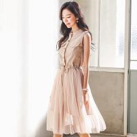 哆哆何伊2018夏装新款女装韩版网纱无袖仙女套装裙子两件套连衣裙
