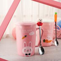 创意陶瓷马克杯带盖勺可爱韩版女学生潮流咖啡杯办公室家用水杯子