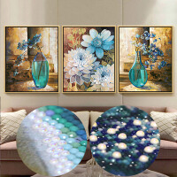 异形钻新款5D魔方钻石画客厅大幅满钻花卉卧室蓝色插花钻石十字绣